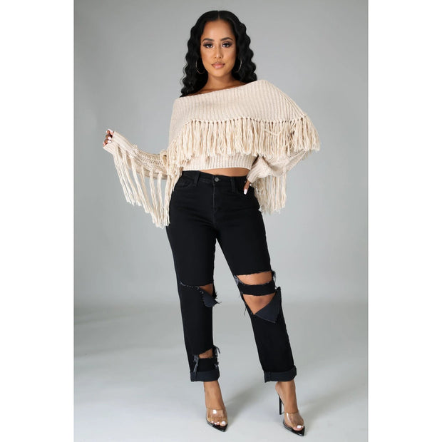 Almond Fringe Sweater Top