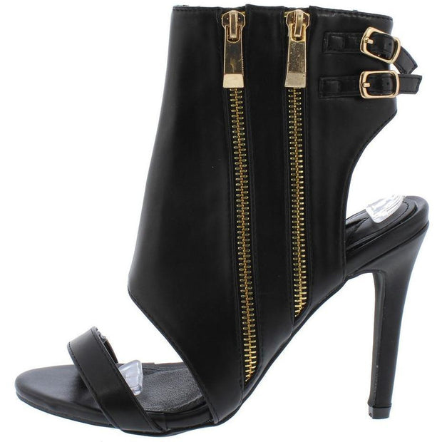 BLACK DOUBLE ZIP REAR DOUBLE BUCKLE CUT OUT HEEL SHOES