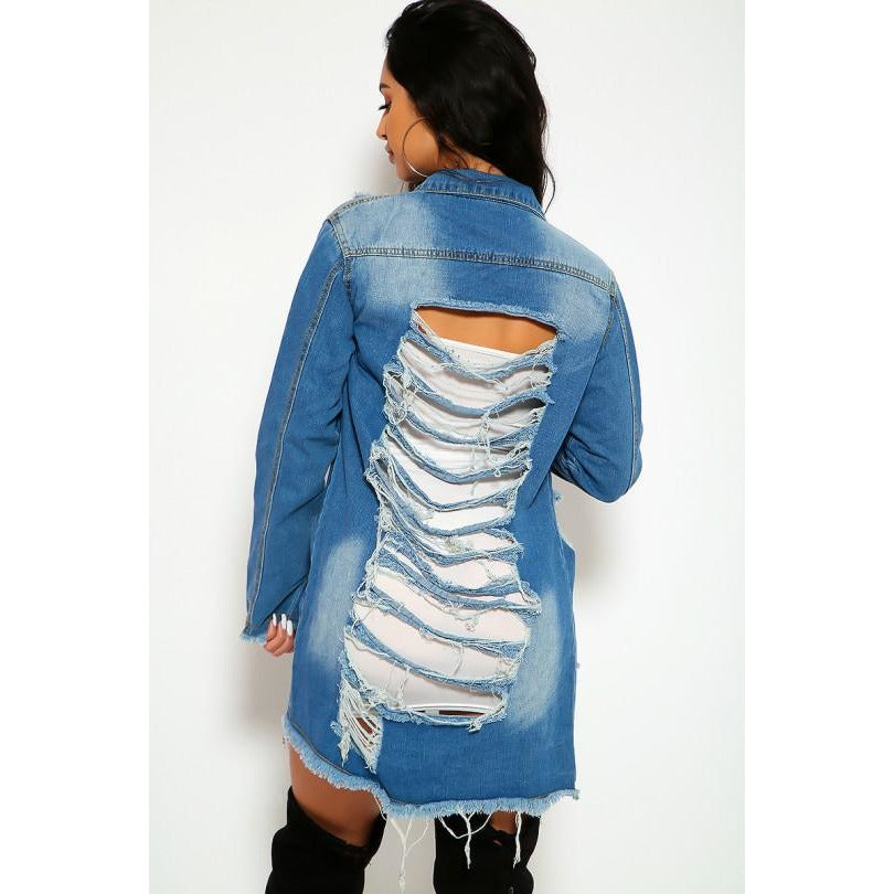 Denim Distressed Fringe Trim Pocket Button Up Jacket