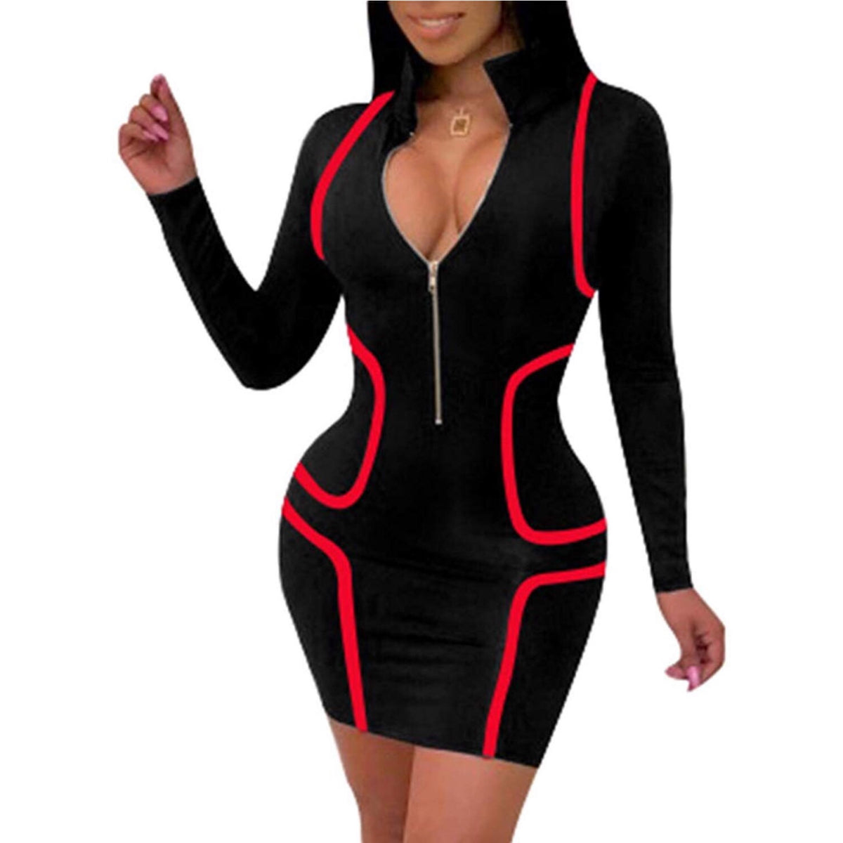 Mia Black and Red Zip Front Bodycon Dress
