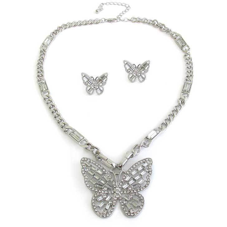 Baguette Butterfly Pendant Necklace and Earring Set