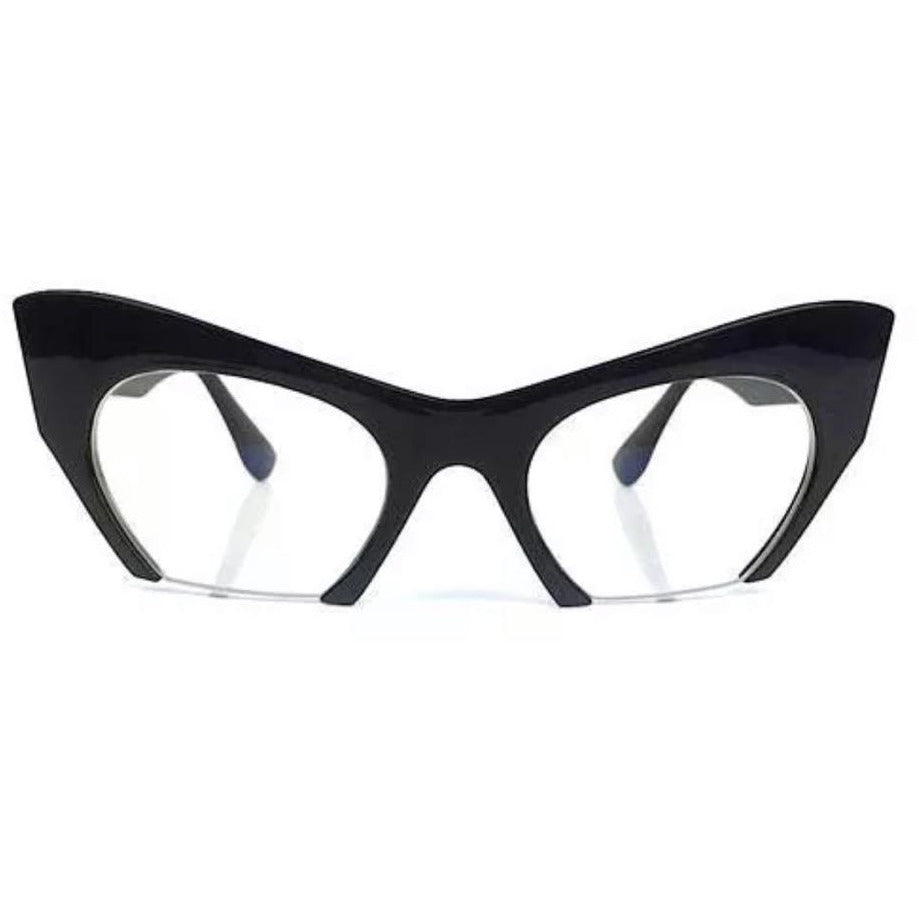 Clear Lens Black Cat Eye Razor  Sunglasses