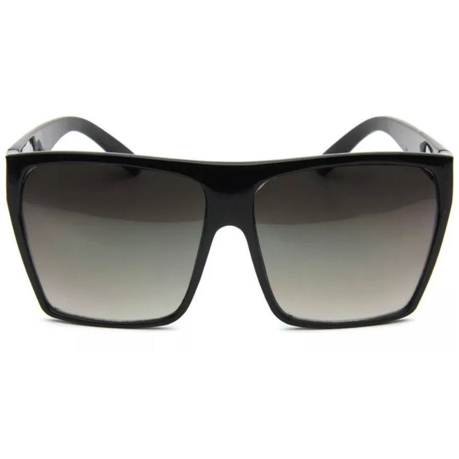 Oversize Flat Lens Colored Frame Sunglasses