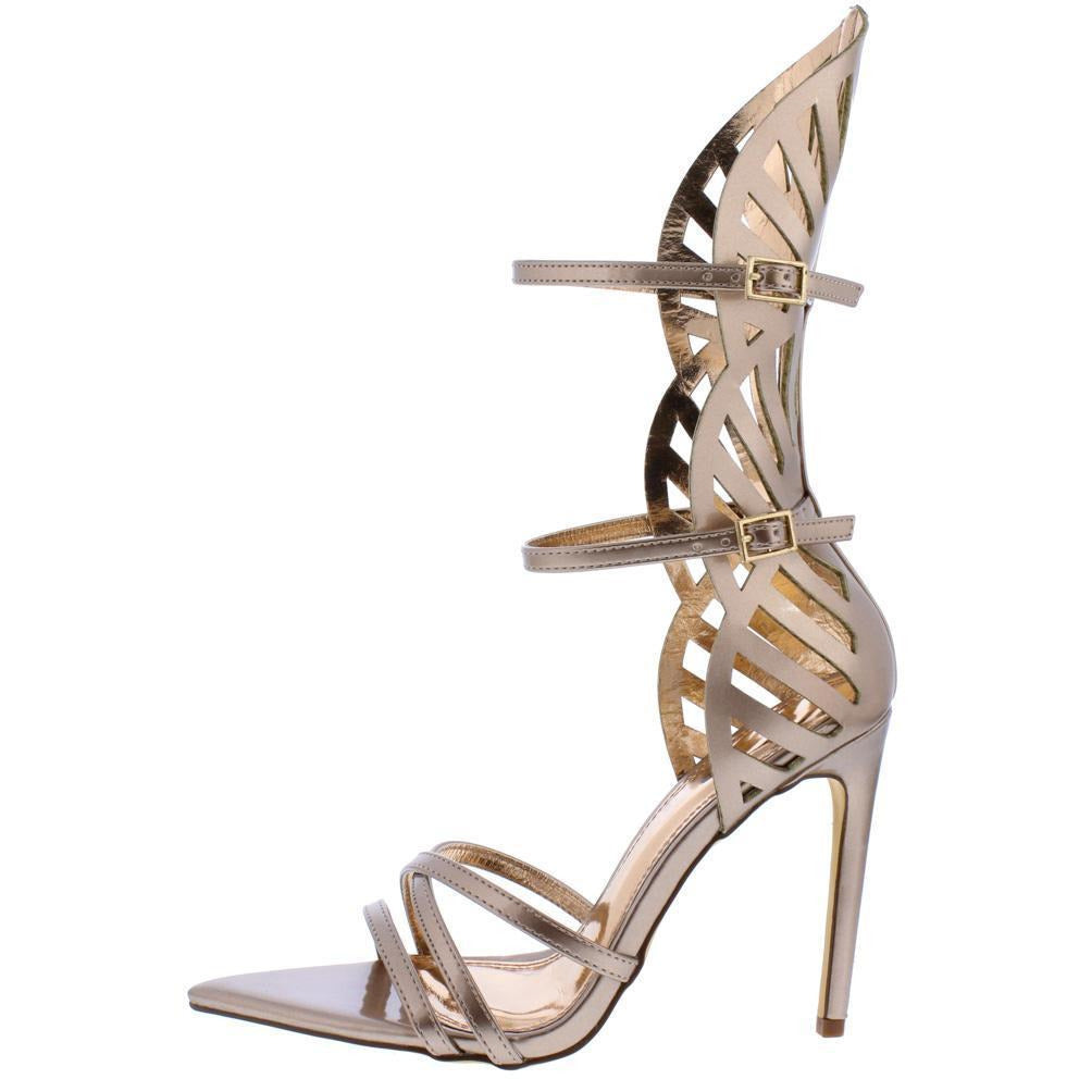 Bronze Laser Cut Open Toe Stiletto Heel Shoes