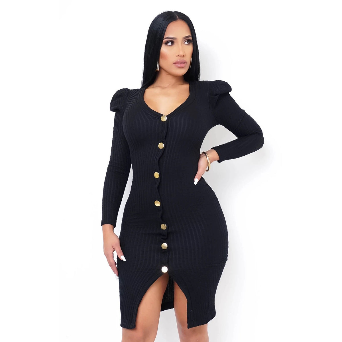 Portia Black Midi Dress