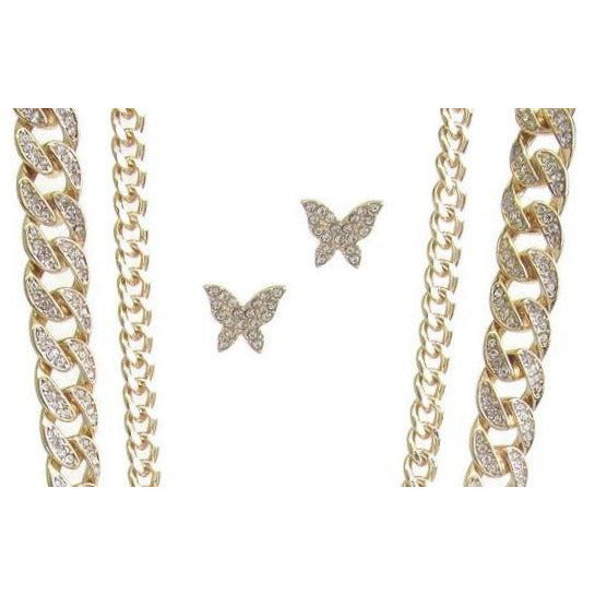 Chunky Chain Rhinestone Butterfly Necklace Earring Set