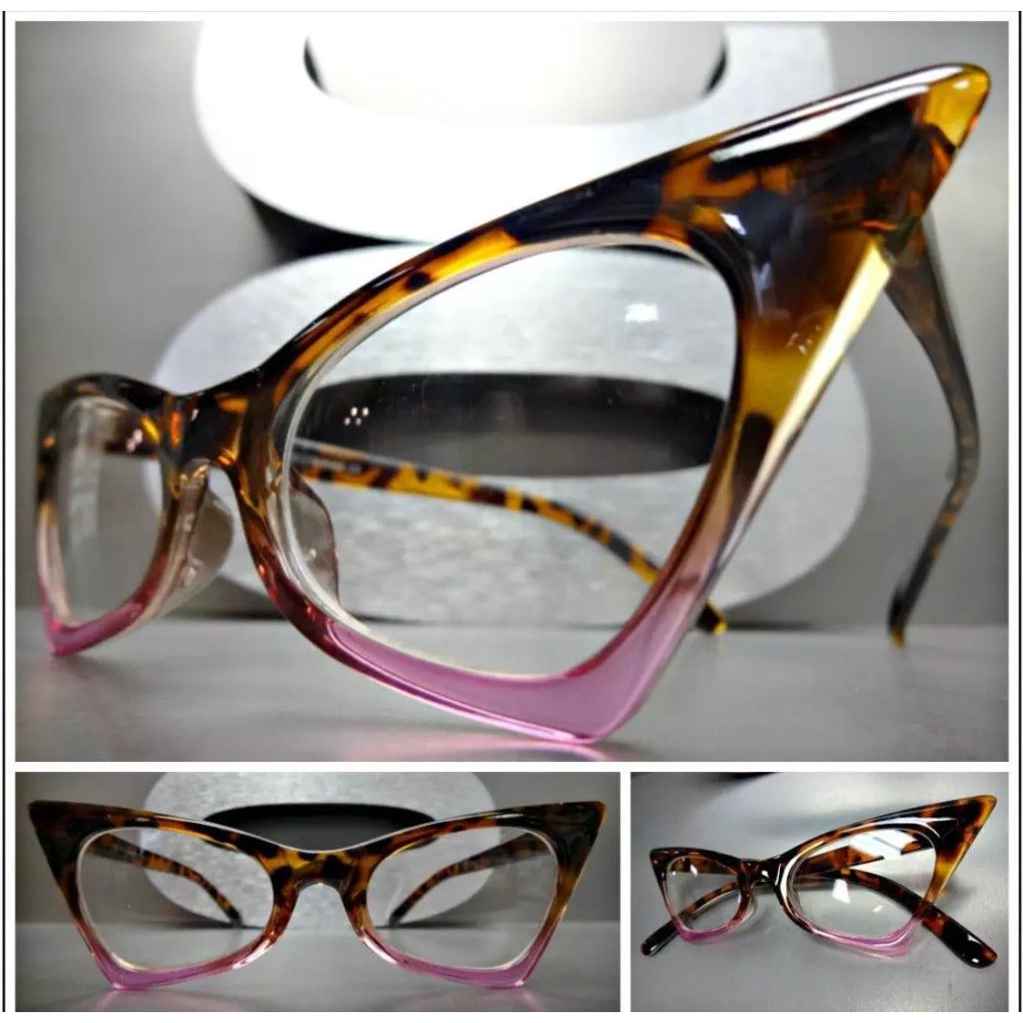 Tortoise and Pink Cateye Clear Lens Glasses