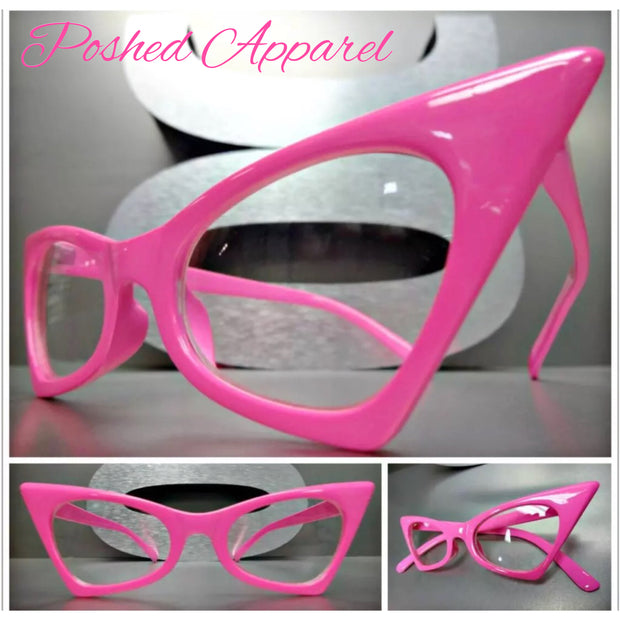 Hot Pink Cateye Clear Lens Glasses