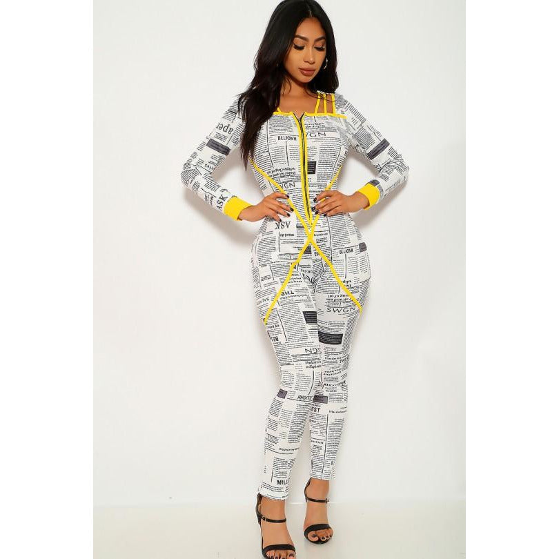 Kylie White Black Yellow Newspaper Print Jumpsuit