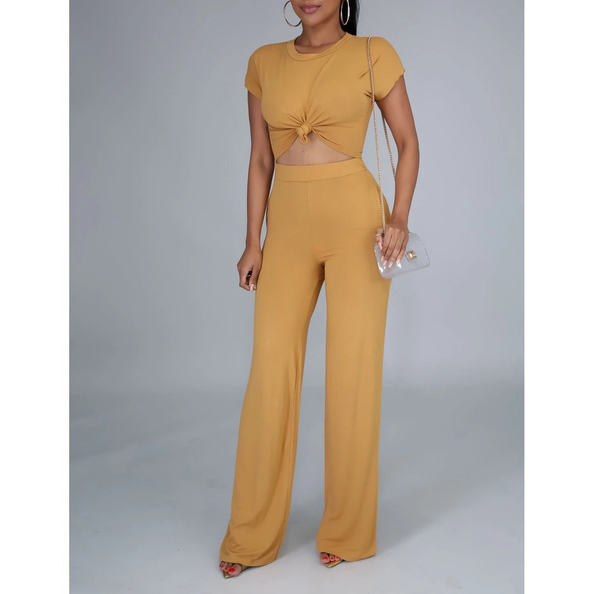 2PC Jersey Bell Pant Set