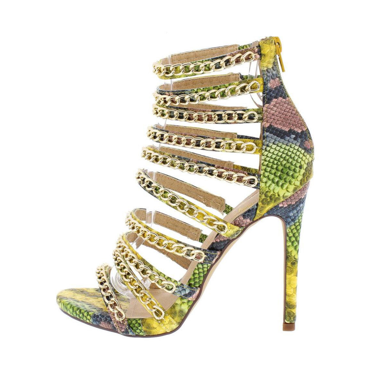 Multi Color Snake Chain Strap Stiletto Heel Shoes