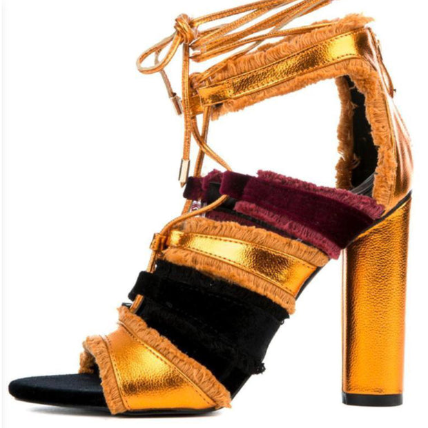 Orange Lace Up Fringe Ankle Wrap Shoes Heels