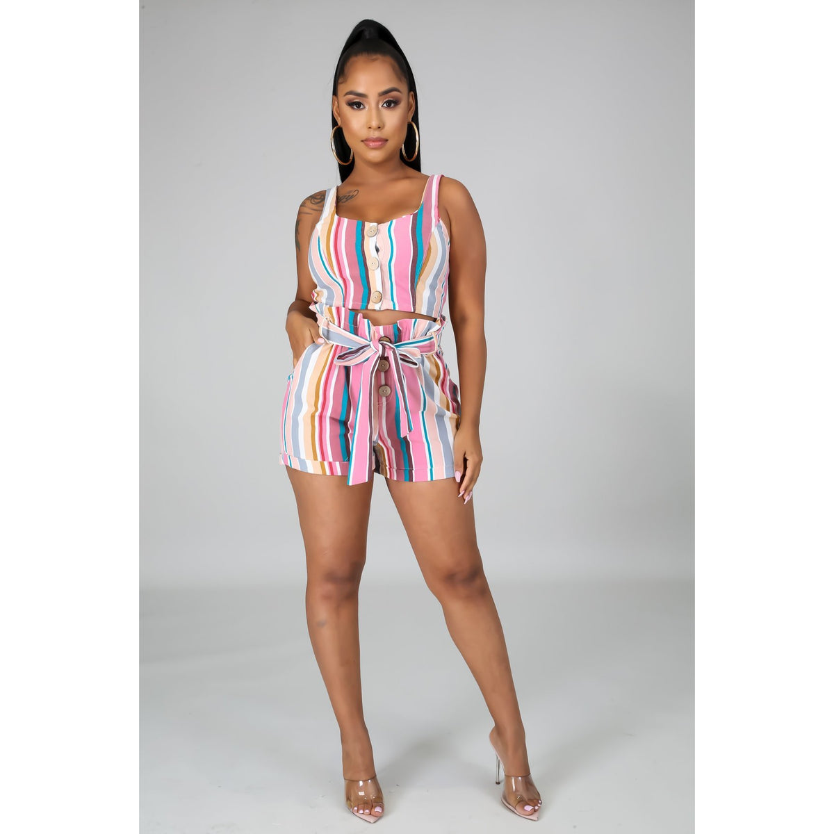 All Striped Up Short Set