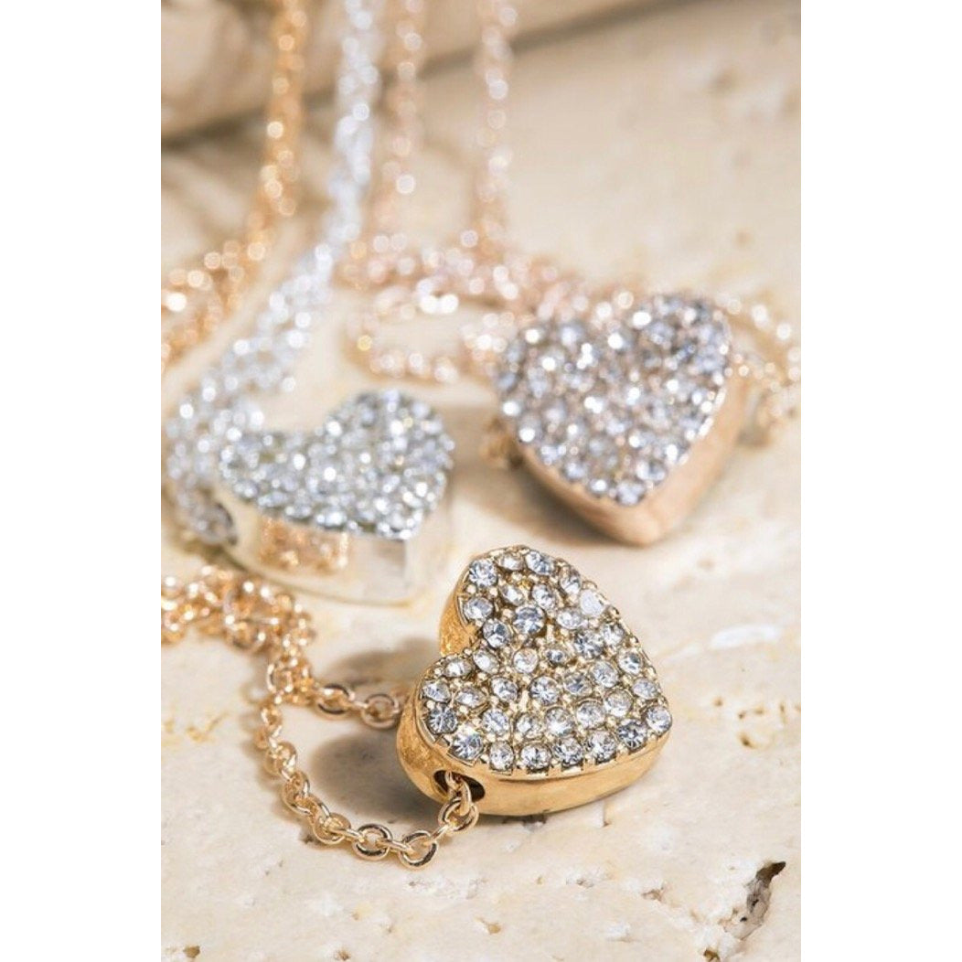 Small Pave Heart Pendant Necklace