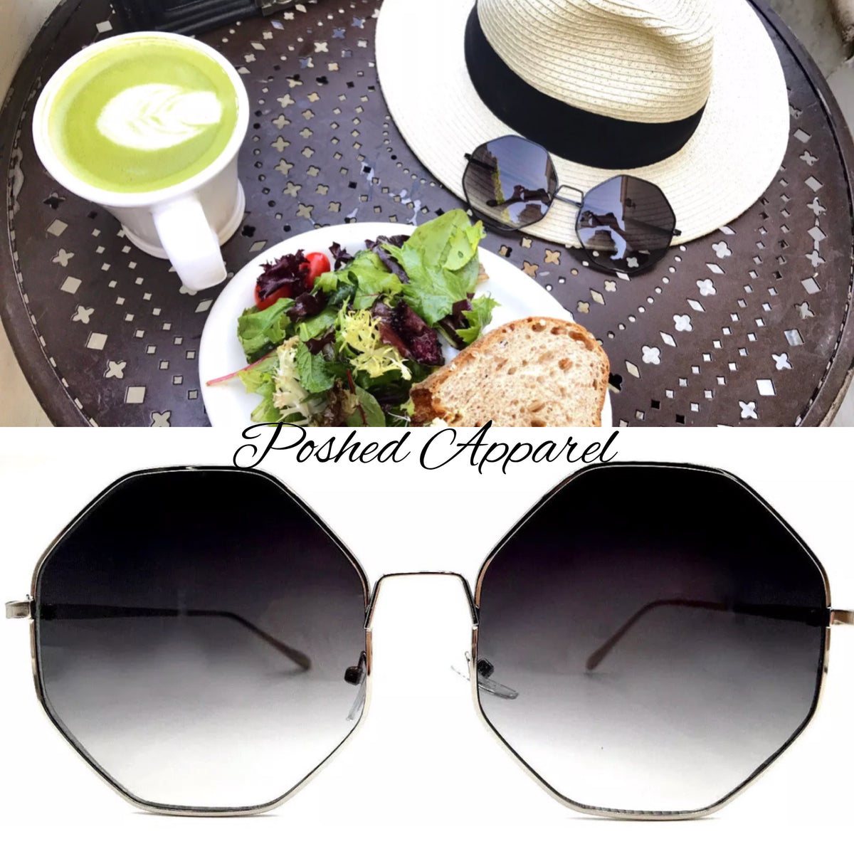Oversize Octagon Jet Set Colored Lens Sunglasses