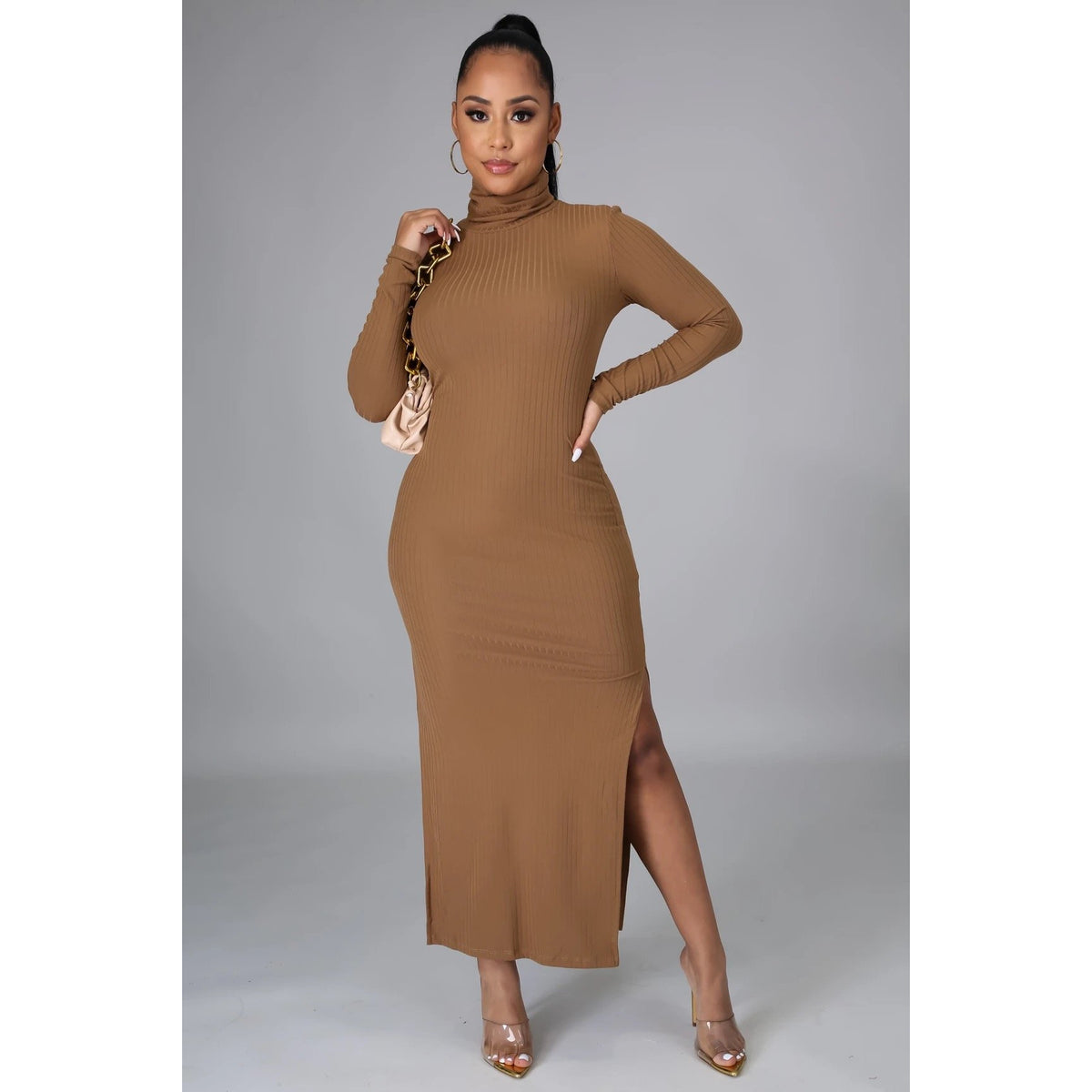 Turtle Neck Side Split Maxi