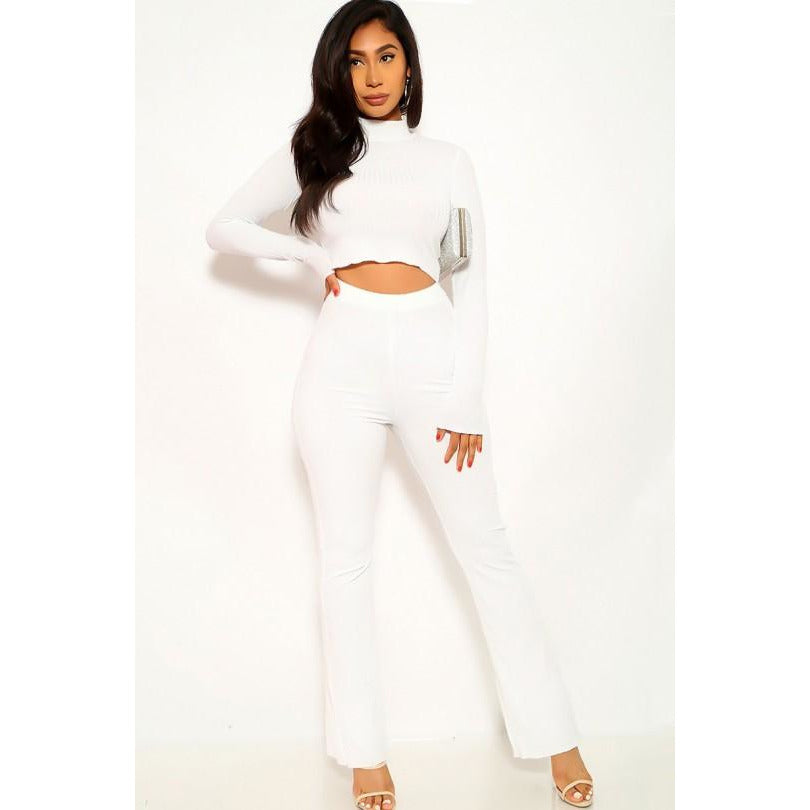 Classic White Long Sleeve Mock Neck Two Piece Outfit