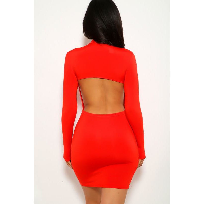 Love Red Cut Out Long Sleeve Dress