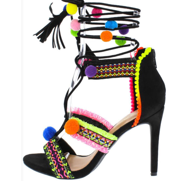 Black Neon Pom Pom Embroidered Stiletto Shoes Heel