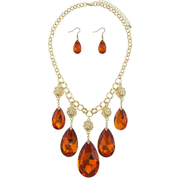 Faceted Faux Teardrop Necklace Set