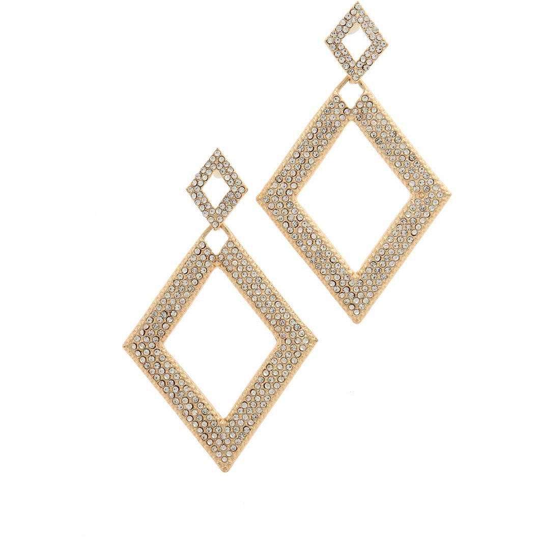 Double Rhombus Rhinestone Drop Earring