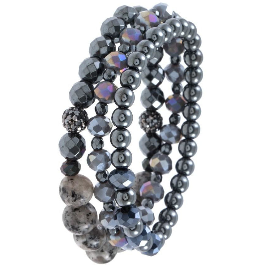 Faceted Glass and Semi Precious Bead Bracelet