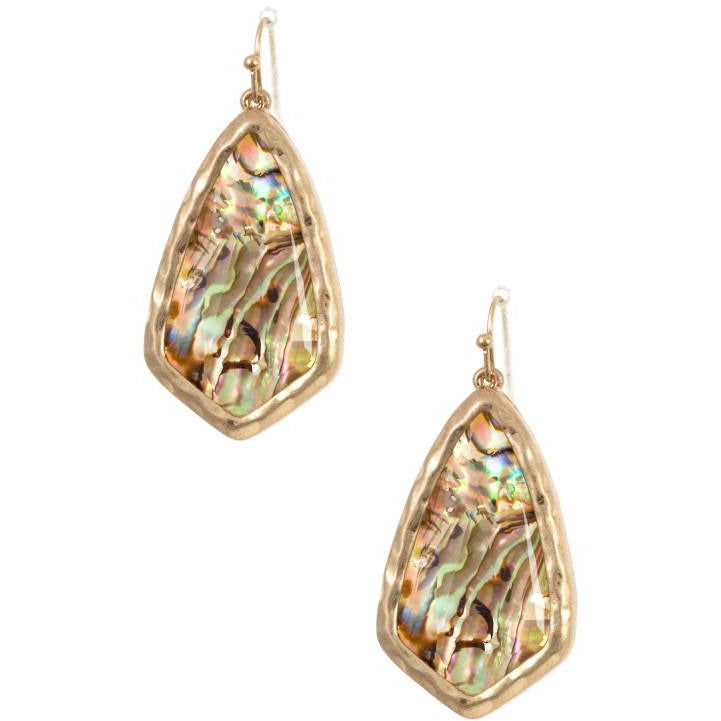 Hammered Framed Faceted Opal Stone Earring