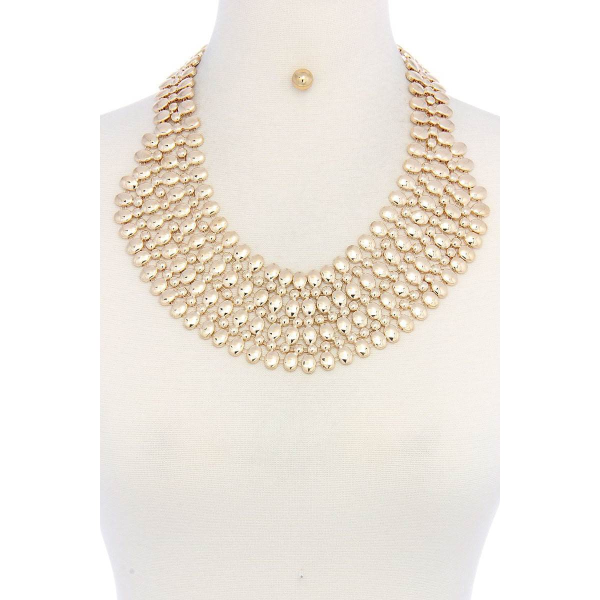 Jada Gold Tone Bead Necklace and Earring set
