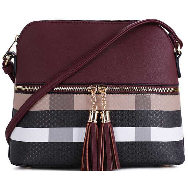 Chic Modern Color Block Tassel Cross Body Bag