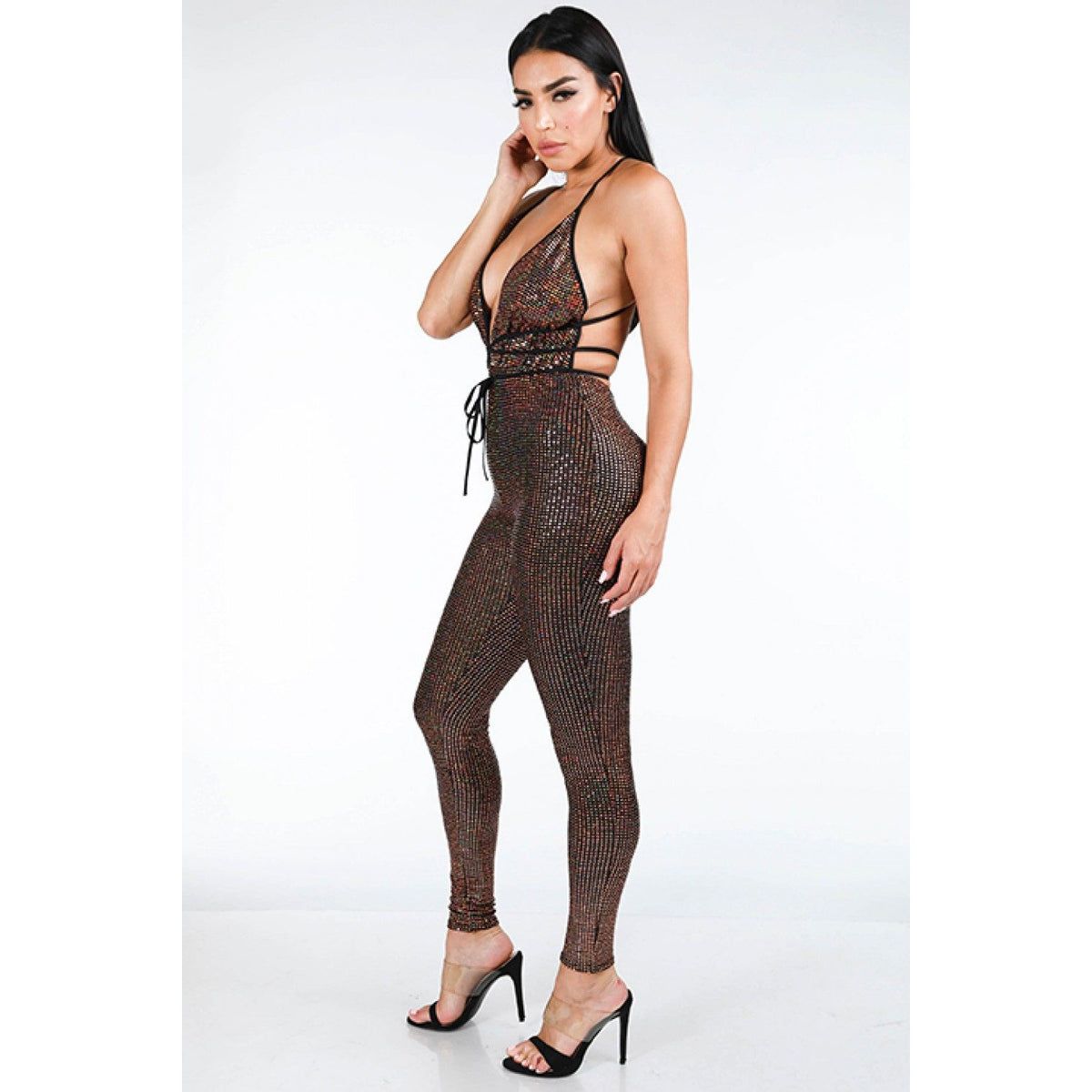 Hologram Sparkled Open Back Jumpsuit