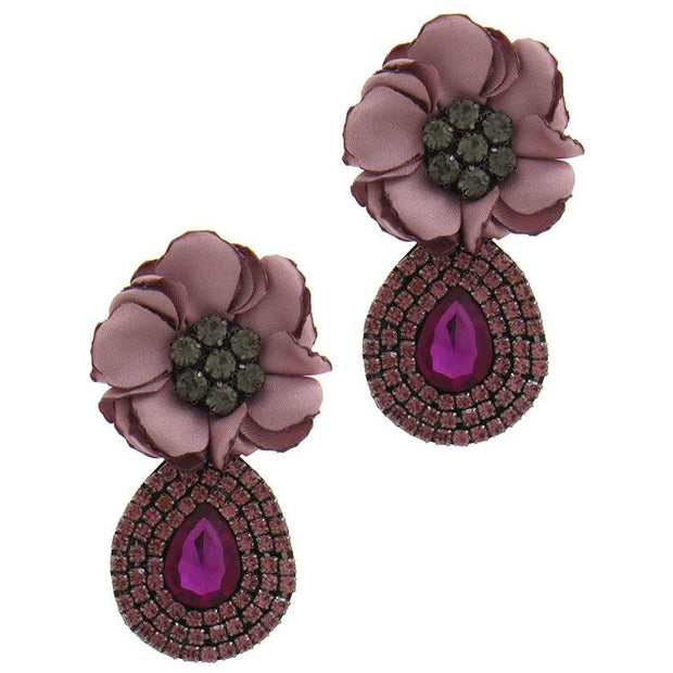Flower Rhinestone Post Drop Earring