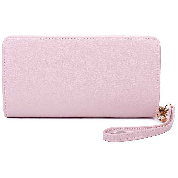 Fashion Solid Color Double Side Long Wallet With Hand Strap