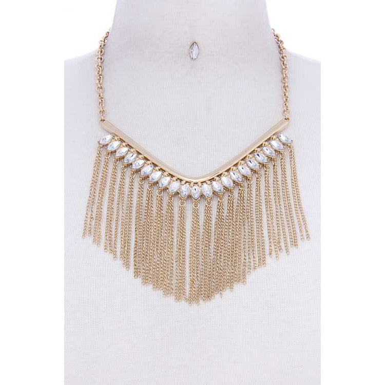 Fashion Multi Rhinestone Tassel Chic Necklace