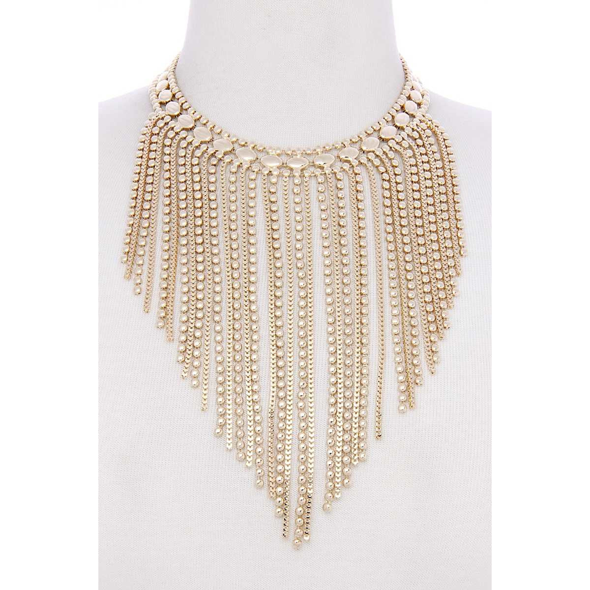 Gold Tone Metal Waterfall Necklace
