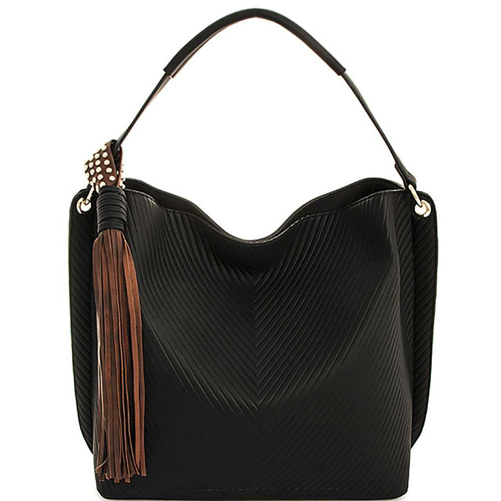 Chic Tassel Handbag With Long Strap
