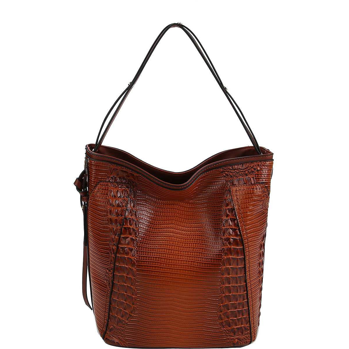 Chill Fashion Croco Pattern Convertible Bucket Hobo Bag