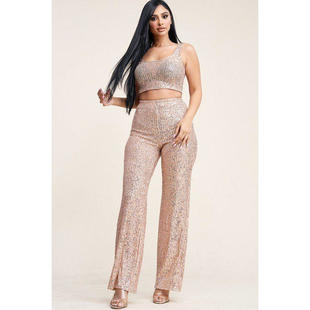 Sequin Tank Top And High Rise Wide Leg Pants Two Piece Set