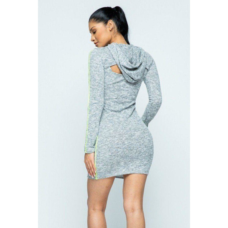 Side Piping Detail Hoodie And Tank Top Dress Set