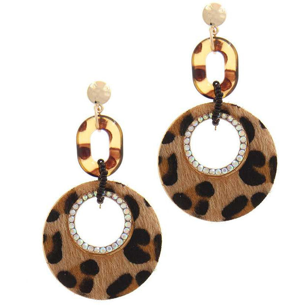 Cut Out Circle Fur Post Drop Earring