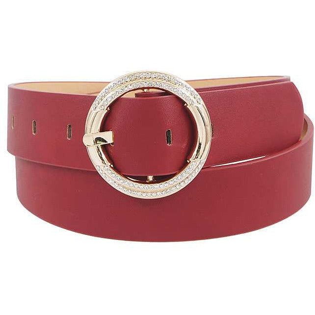 Fashion Stylish Circle Rhinestone Buckle Belt