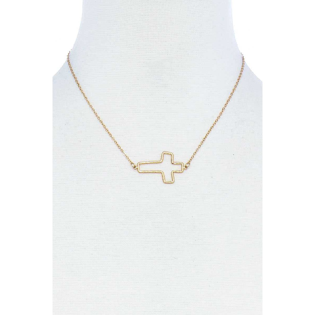 Fashion Cute Cross Out Line Pendant Necklace