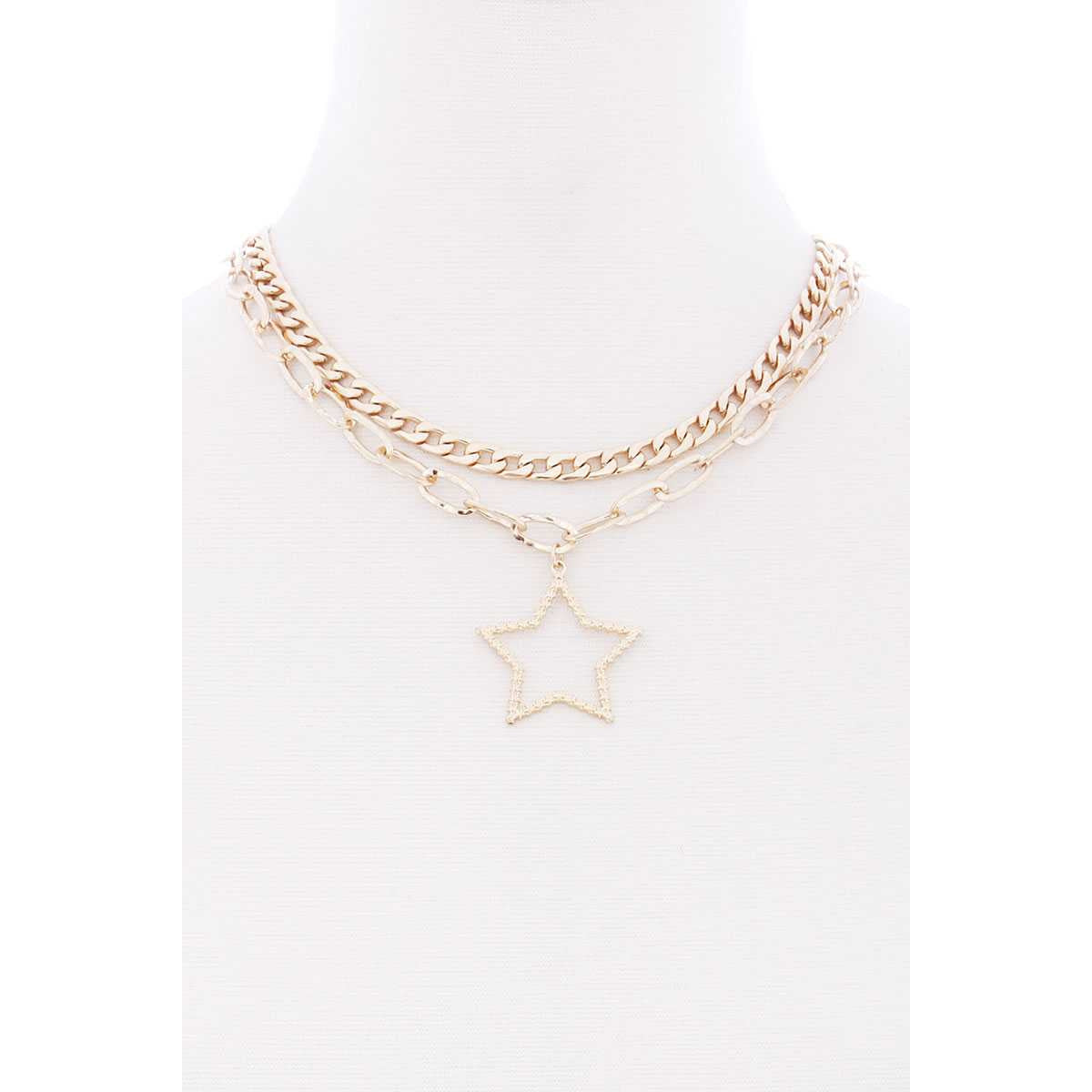 Chunky 2 Layered Chain Star Pendant Metal Necklace