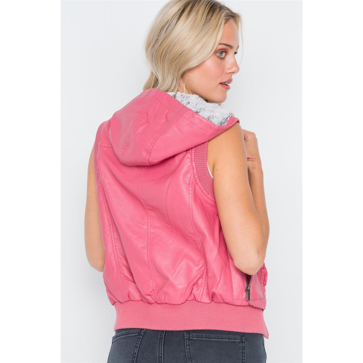 Pink Vegan Leather Faux Fur Lining Draw String Vest