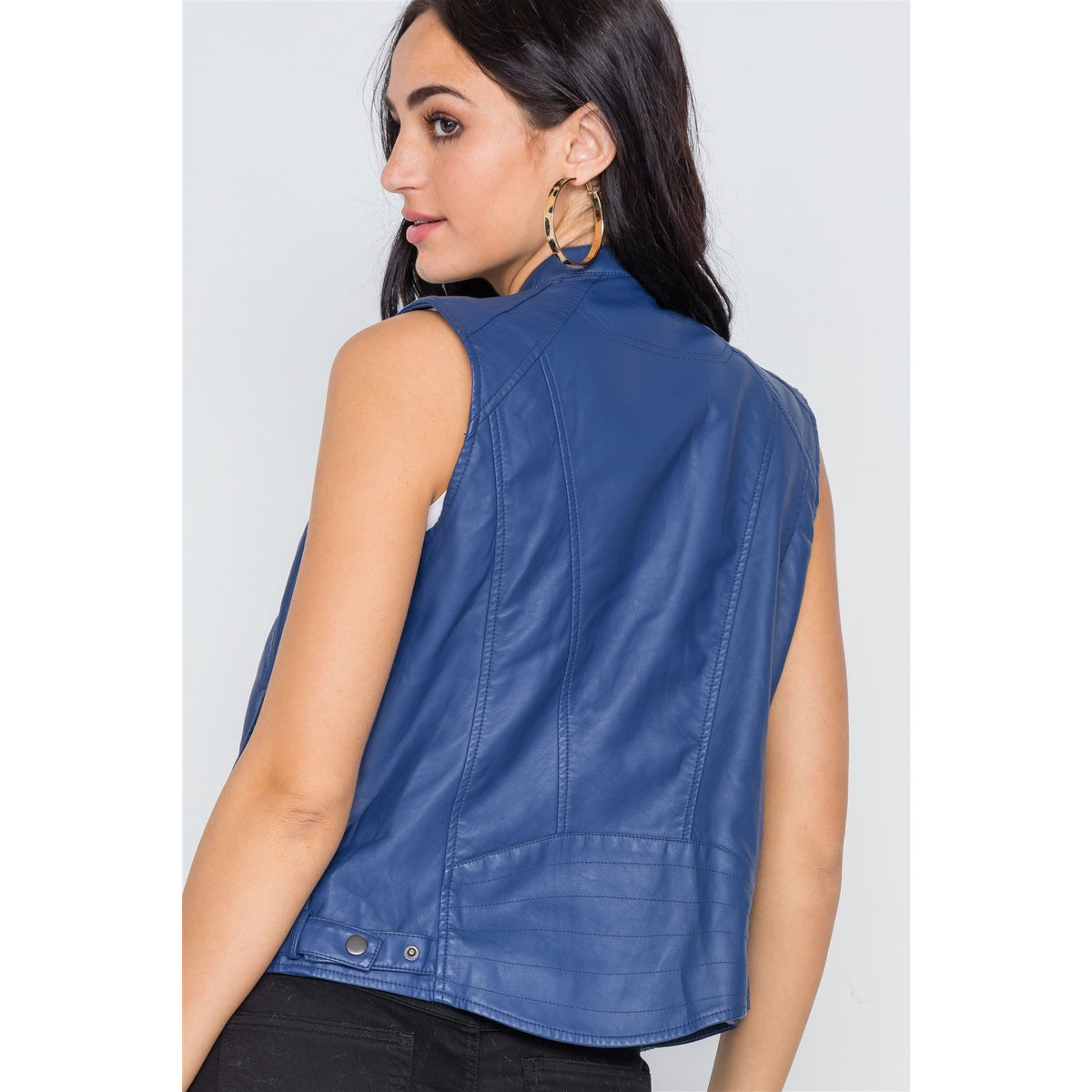 Blue Vegan Leather Faux Fur Lining  Vest
