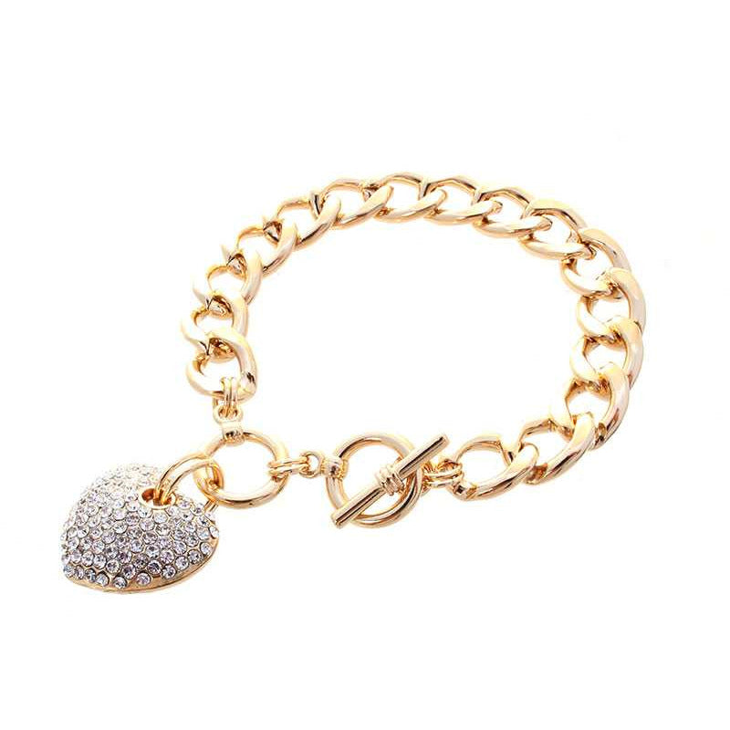 Heart Stone Metal Link Chain Toggle Clasp Bracelet