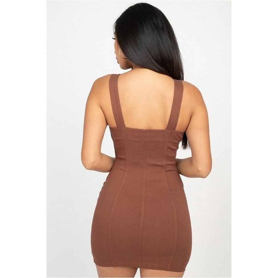 Front Zip Mini Dress