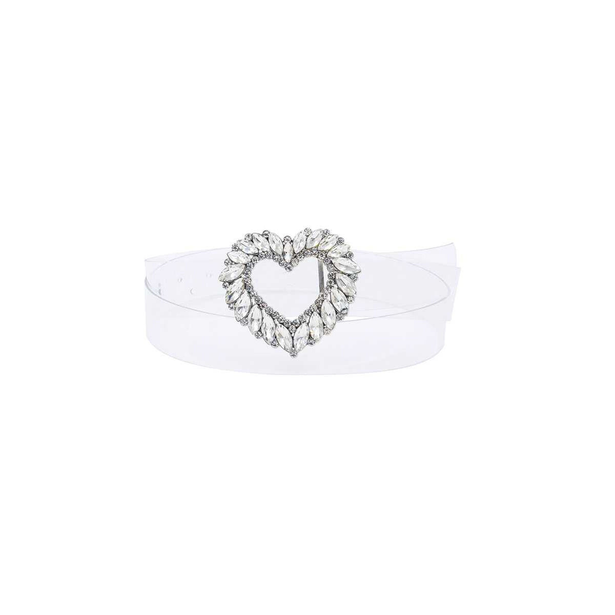 Luxe Rhinestone Heart Buckle Clear Belt