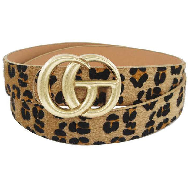Buckle Leopard Hair Belt
