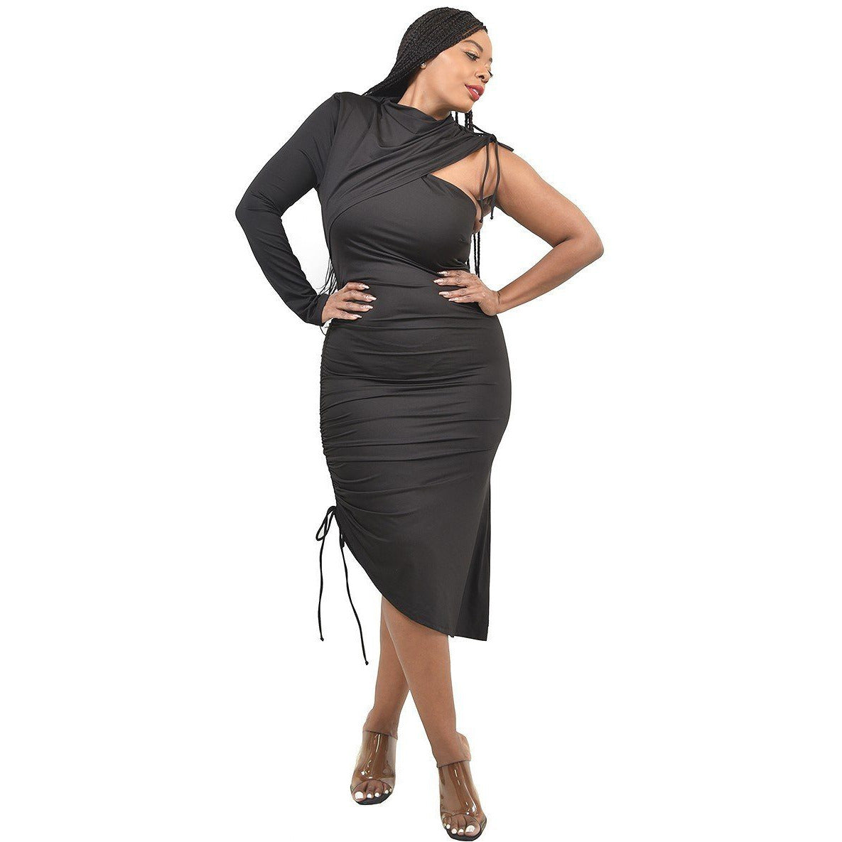 Plus Size One Sleeve Asymmetric Dress