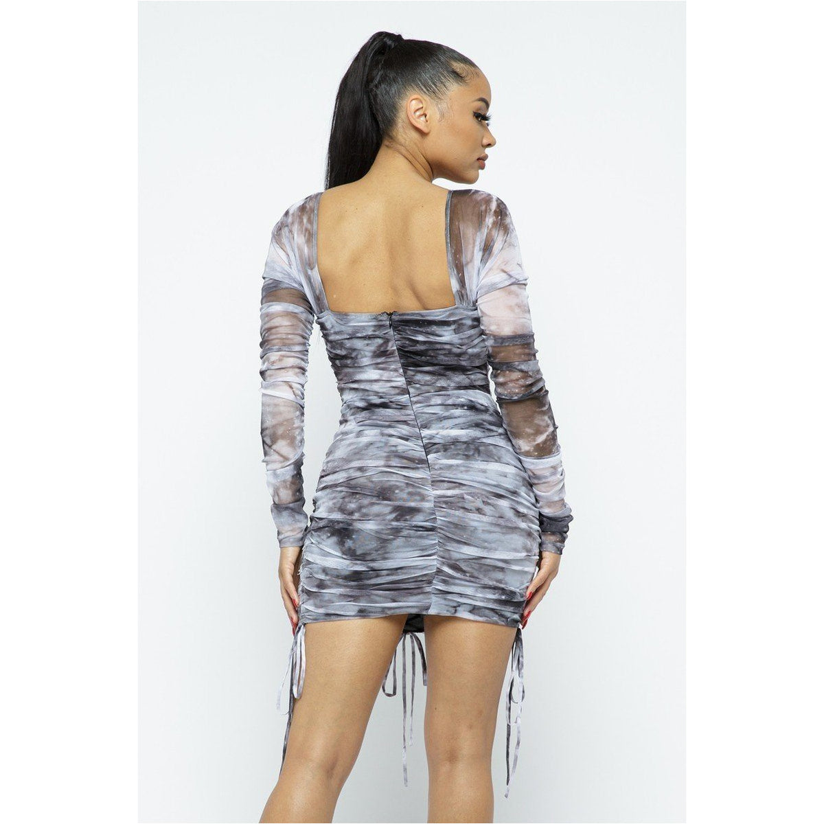 Lace Up Tie Dye Mesh Mini Dress